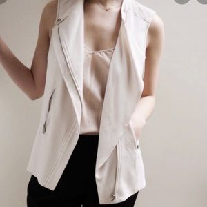 Aritzia Babaton Redford cream vest with silver zippers size 2